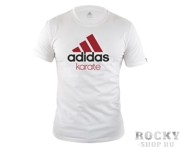 Футболка Community T-Shirt Karate бело-красная AdidasФутболки<br>Стильная детская футболкаиз эксклюзивной линейки adidasCOMBAT SPORT &amp; MARTIAL ARTS. Классика спортивного стиля, которая никогда не выходит из моды. Изготовленаиз ткани climalite®, которая эффективно отводит влагу от тела во время тренировки. На лицевой сторонекрупный контрастный логотип adidas и надпись KARATE. Удобный рифленый ворот. Эксклюзивная линейкаCOMBAT SPORT &amp; MARTIAL ARTS. Ткань сlimalite® отводит влагу с поверхности кожи. Рифленый круглый ворот. Классический крой. Крупный контрастный логотип adidas на лицевой стороне. Надпись KARATE. Состав: 100% хлопок.<br><br>Цвет: бело-красная