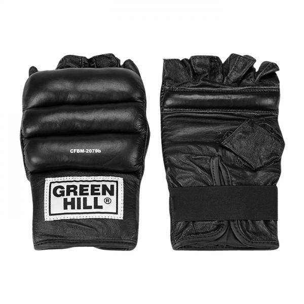 Шингарты CFBM-2079в, черные Green HillПерчатки MMA<br>Обрезанные снарядные перчатки(шингарты). Изготовлены из натуральной кожи, ударная поверхность с утолщением. Манжет на липучке. Используются для отработки ударов по боксерскому мешку или специальной подушке. Размеры:Измерьте обхват ладони сантиметровой лентой в наиболее широком месте, исключив при этом большой палец руки Размер: S M L XLОбхват ладони, см. 17-18 18-19 19-22 23-27<br><br>Размер: L