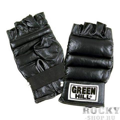 Шингарты, черные Green HillПерчатки MMA<br>Обрезанные снарядные перчатки (шингарты). Изготовлены из натуральной кожи, ударная поверхность с утолщением. Манжет на липучке. Используются для отработки ударов по боксерскому мешку или специальной подушке. Размеры:Измерьте обхват ладони сантиметровой лентой в наиболее широком месте, исключив при этом большой палец руки Размер: S M L XLОбхват ладони, см. 17-18 18-19 19-22 23-27<br><br>Размер: XL