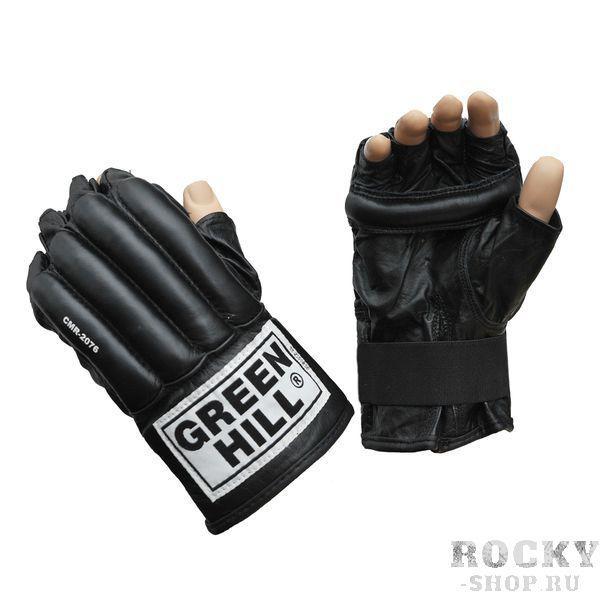 Шингарты ROYAL, черный Green HillПерчатки MMA<br>Материал: Натуральная кожаСнарядные боксерские перчатки с обрезанными пальцами – шингарды GREEN HILL ROYAL CMR-2076 предназначены для новичков и любителей, для тренировок в домашних условиях, а так же могут использоваться для боевого самбо или боев без правил. Перчатки более легкие и тонкие по сравнению с классическими боксерскими перчатками, выполнены из натуральной кожи, что обеспечивает их прочность и износостойкость. Тыльная сторона перчаток имеет наполнитель из пенорезины, который хорошо амортизирует удары, защищает кисти рук от возможных травм. Специальный брусок на ладони помогает держать кулак в напряжении. Внутренняя подкладка изготовлена из влагоотталкивающего материала с антибактериальной пропиткой. Застежка в виде резинки на внутренней стороне запястья обеспечивает удобство и быстроту одевания перчаток. Размеры:Замерьте обхват ладони сантиметровой лентой в наиболее широком месте, исключив при этом большой палец руки Размер: S M L XL<br><br>Размер: L