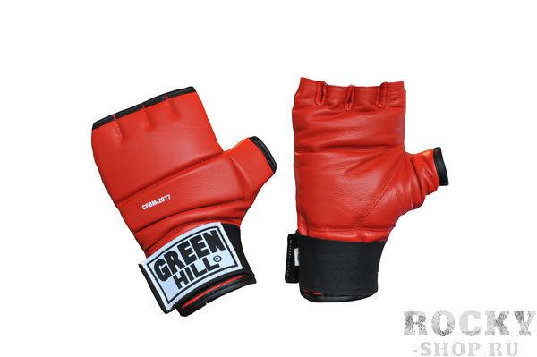 Шингарты, Красный Green HillПерчатки MMA<br>Обрезанные снарядные перчатки (шингарты). Изготовлены из натуральной кожи, ударная поверхность с утолщением. Манжет на липучке. Используются для отработки ударов по боксерскому мешку или специальной подушке.Размеры:Измерьте обхват ладони сантиметровой лентой в наиболее широком месте, исключив при этом большой палец руки  Размер: S M L XLОбхват ладони, см. 17-18 18-19 19-22 23-27<br>