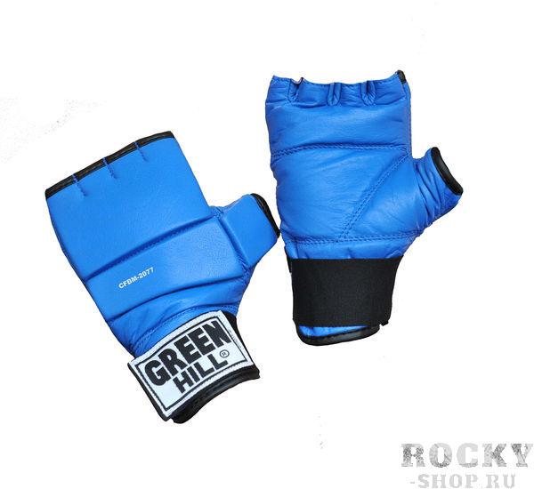 Шингарты, синие Green HillПерчатки MMA<br>Обрезанные снарядные перчатки (шингарты). Изготовлены из натуральной кожи, ударная поверхность с утолщением. Манжет на липучке. Используются для отработки ударов по боксерскому мешку или специальной подушке.Размеры:Измерьте обхват ладони сантиметровой лентой в наиболее широком месте, исключив при этом большой палец руки  Размер: S M L XLОбхват ладони, см. 17-18 18-19 19-22 23-27<br>