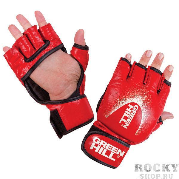 Шингарты, Красный Green HillПерчатки MMA<br>Материал: Натуральная кожаШингарты прекрасно подходят для смешанных единоборств. Благодаря утолщению на кулаке и открытым пальцам, подходят как для ударов так и для захватов. В перчатках можно выступать на соревнованиях и использовать во время тренировок. Материал кожа. Размеры:Измерьте обхват ладони сантиметровой лентой в наиболее широком месте, исключив при этом большой палец руки Размер: S M L XLОбхват ладони, см. 17-18 18-19 19-22 23-27<br><br>Размер: L