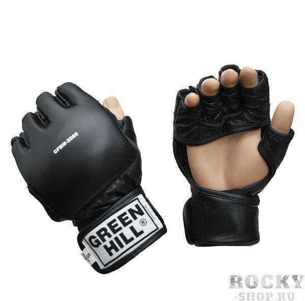 Шингарты, черный Green HillПерчатки MMA<br>Материал: Натуральная кожаШингарты прекрасно подходят для смешанных единоборств. Благодаря утолщению на кулаке и открытым пальцам, подходят как для ударов так и для захватов. В перчатках можно выступать на соревнованиях и использовать во время тренировок. Материал кожа. Размеры:Измерьте обхват ладони сантиметровой лентой в наиболее широком месте, исключив при этом большой палец руки Размер: S M L XLОбхват ладони, см. 17-18 18-19 19-22 23-27<br><br>Размер: M