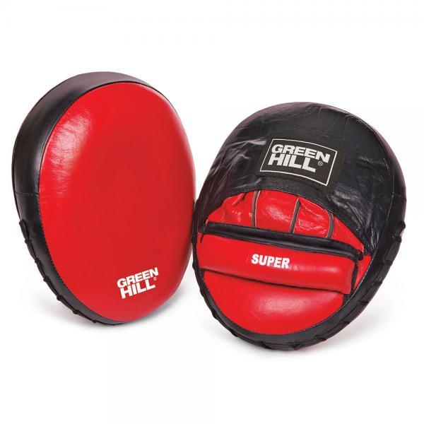 Лапы боксерские SUPER new Green HillЛапы и макивары<br>Лапы имеют вид уплотненной подушки овальной формы. Ударная поверхность сделана с углублением. Рука фиксируется застежкой на липучке. Сделаны из высококачественной натуральной кожи.<br>