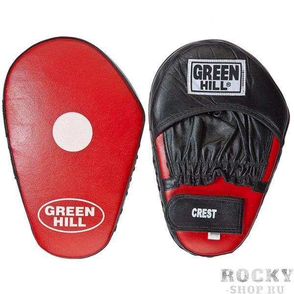 """Лапы боксерские CREST Green HillЛапы и макивары<br>Лапs боксерские """"CREST""""Прямая лапа применяется для отработки прямых ударов. Верх сделан из натуральной кожи, в центре белая мишень. Купе для кисти сделано из натуральнойкожи. Удлиненная форма, крепление кисти на «липучке». В комплекте 2 лапы.<br>"""