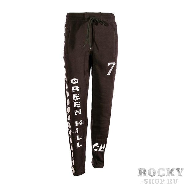 Купить Тренировочные брюки, флис Green Hill черный с белыми надписями (арт. 9398)