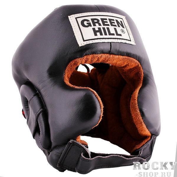 Шлем боксерский defence, Черный Green HillБоксерские шлемы<br>Материал: Натуральная кожаВиды спорта: БоксШлем тренировочный Defence GREEN HILL. Сделан из натуральной кожи. Имеет двойное крепление. С усиленной защитой в области ушей и подбородка. Размер:При подборе шлема следует также учесть, что размеры шлемов можно регулировать за счет специальных застежек. Для выбора шлемов, ориентируйтесь на следующие данные:охват головы - размер48-53 см - S54-56 см - М57-60 см – L61-63 см - XL<br><br>Размер: L