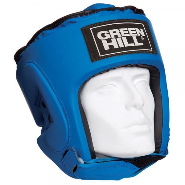 Шлем для бокса PRO, Синий Green HillБоксерские шлемы<br>Материал: Искусственная кожаВиды спорта: БоксТренировочный шлем PRO Пошит из искусственной кожи. Двойная система крепления. Защита теменной области. Размер:Для выбора шлемов, ориентируйтесь на следующие данные:охват головы - размер48-53 см - S54-56 см - М57-60 см – L61-63 см - XL<br><br>Размер: XL