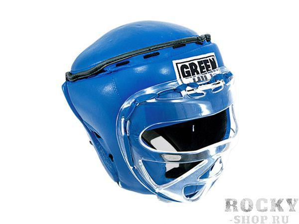 Шлем боксерский закрытый RING, Синий Green HillБоксерские шлемы<br>Материал: Натуральная кожаВиды спорта: БоксТренировочный закрытый боксерский шлем. Сделан из высококачественной натуральной кожи. Усиленная защита в области ушей, скул и подбородка. Дополнительную защиту обеспечивает маска из прочного пластика, а защита сверху шлема убережет голову от ударов ногами. Шлем фиксируется «липучкой». Обеспечивает лучшую защиту из всех существующих моделей. К соревнованиям вас не допустят выступать в таком шлеме, но на тренировках он максимально защитит вас и убережет от повреждений. Размер:При подборе шлема следует также учесть, что размеры шлемов можно регулировать за счет специальных застежек. Для выбора шлемов, ориентируйтесь на следующие данные:охват головы - размер48-53 см - S54-56 см - М57-60 см – L61-63 см - XL<br><br>Размер: L