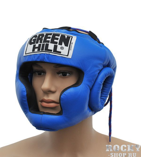 Шлем боксерский SUPER, Синий Green HillБоксерские шлемы<br>Материал: Натуральная кожаВиды спорта: БоксТренировочный шлем. Сделан из высококачественной натуральной кожи. Усиленная защита в области ушей, и подбородка. . Размер:При подборе шлема следует также учесть, что размеры шлемов можно регулировать за счет специальных застежек. Для выбора шлемов, ориентируйтесь на следующие данные:охват головы - размер48-53 см - S54-56 см - М57-60 см – L61-63 см - XL<br><br>Размер: S
