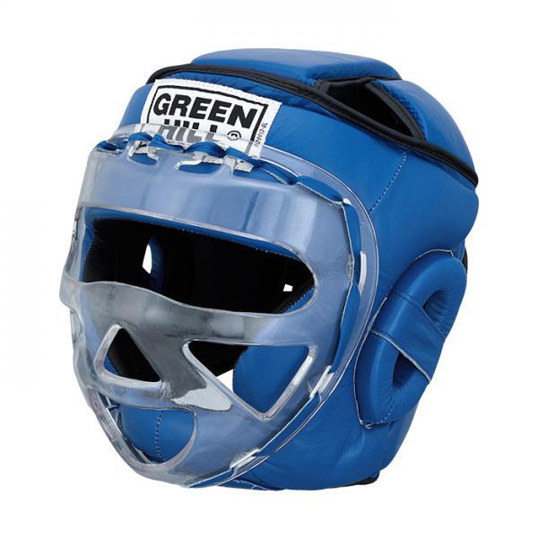 Шлем для бокса SAFE, Синий Green HillБоксерские шлемы<br>Материал: Натуральная кожаВиды спорта: БоксБоевой и тренировочный шлем. Сделан из высококачественной натуральной кожи. Усиленная защита в области ушей, и подбородка. Лицо защищает пластиковая маска. Размер:При подборе шлема следует также учесть, что размеры шлемов можно регулировать за счет специальных застежек. Для выбора шлемов, ориентируйтесь на следующие данные:охват головы - размер48-53 см - S54-56 см - М57-60 см – L61-63 см - XL<br><br>Размер: S