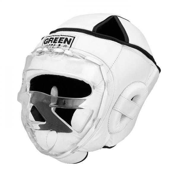 Шлем для бокса safe, Белый Green HillБоксерские шлемы<br>Материал: Натуральная кожаВиды спорта: БоксБоевой и тренировочный шлем. Сделан из высококачественной натуральной кожи. Усиленная защита в области ушей, и подбородка. Лицо защищает пластиковая маска. Размер:При подборе шлема следует также учесть, что размеры шлемов можно регулировать за счет специальных застежек. Для выбора шлемов, ориентируйтесь на следующие данные:охват головы - размер48-53 см - S54-56 см - М57-60 см – L61-63 см - XL<br><br>Размер: XL