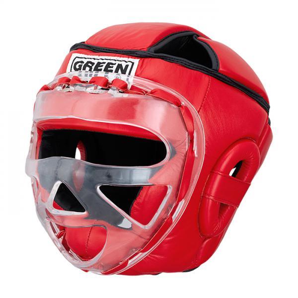 Шлем для бокса SAFE, Красный Green HillБоксерские шлемы<br>Материал: Натуральная кожаВиды спорта: БоксБоевой и тренировочный шлем. Сделан из высококачественной натуральной кожи. Усиленная защита в области ушей, и подбородка. Лицо защищает пластиковая маска. Размер:При подборе шлема следует также учесть, что размеры шлемов можно регулировать за счет специальных застежек. Для выбора шлемов, ориентируйтесь на следующие данные:охват головы - размер48-53 см - S54-56 см - М57-60 см – L61-63 см - XL<br><br>Размер: S