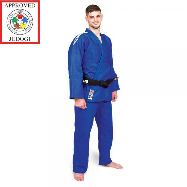 Кимоно для дзюдо PROFESSIONAL (одобрено IJF 2015), Синий Green HillЭкипировка для Дзюдо<br>Материал: ХлопокВиды спорта: ДзюдоКимоно дзюдо PROFESSIONAL. Материал: 100% хлопок. Кимоно предназначено для использования в профессиональных тренировках. Конструктивная особенность нити делает материал, из которого пошито кимоно, чрезвычайно крепким, почти не поддающимся усадке после стирки (+-2%). Плотность 750г/мШирина ворота 4 см. Ворот прошит 4 строчками. Ворот легко вертикально сворачивается. Белое кимоно оформлено черными вставками в виде погон. Синее кимоно оформлено белыми вставками в виде погон<br><br>Размер: 175