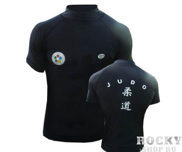 Футболка под кимоно, Черный Green HillЭкипировка для Дзюдо<br>Материал: Лайкра - ПолиэстерВиды спорта: ДзюдоЗащитная футболка с логотипом дзюдо. Материал: полиэстер/лайкра.<br><br>Размер: S