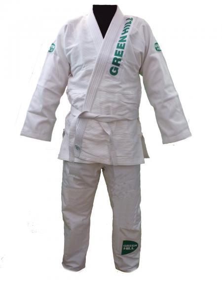 Кимоно джиу-джитсу GLADIATOR, А1  Green HillЭкипировка для Джиу-джитсу<br>Материал: ХлопокВиды спорта: Джиу-джитсуКимоно для джиу-джитсу GLADIATOR. Белое. (100% хлопок). 2/150 смРазмеры&amp;nbsp;Длина штанины до пояса 83 смШирина штанов в поясе 100 смДлина рукава куртки 57 смДлина куртки от нижнего края 77 см<br><br>Цвет: Белый