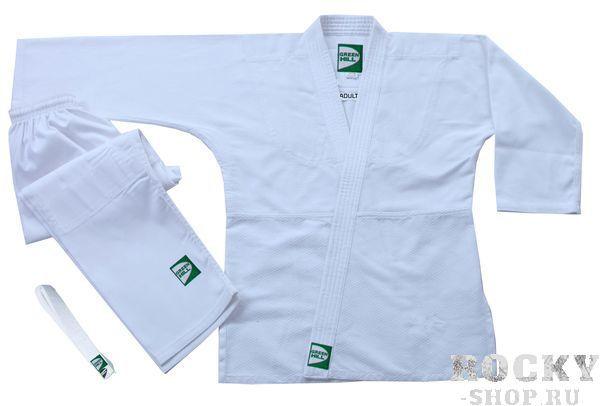 Кимоно Дзю-до ADULT белое, 130 Green HillЭкипировка для Дзюдо<br>Материал: ХлопокВиды спорта: ДзюдоКимоно специально разработано для тренировок юношей. Изготовлено из лёгкой плетёной хлопковой ткани плотностью 320 г/м. Хороший вариант для тренировок в айкидо и джиу-джитсу, на начальном этапе занятий дзюдо. Куртка усилена двойными швами на плечах, рукавах и груди. Места, подверженные наиболее интенсивному воздействию (лацканы, колени, проймы, боковой разрез) усилены специальными вставками; цельнокроеный рукав; шва на спине нет. Брюки с усилением колена пошиты из хлопковой ткани плотностью 250 г/м, крепление на поясе — широкая вшитая резинка и шнур. От 160 см — только шнур. Кимоно соответствует стандартам 2015 года и наилучшим образом подходит стройным худощавым борцам.<br><br>Цвет: Белый