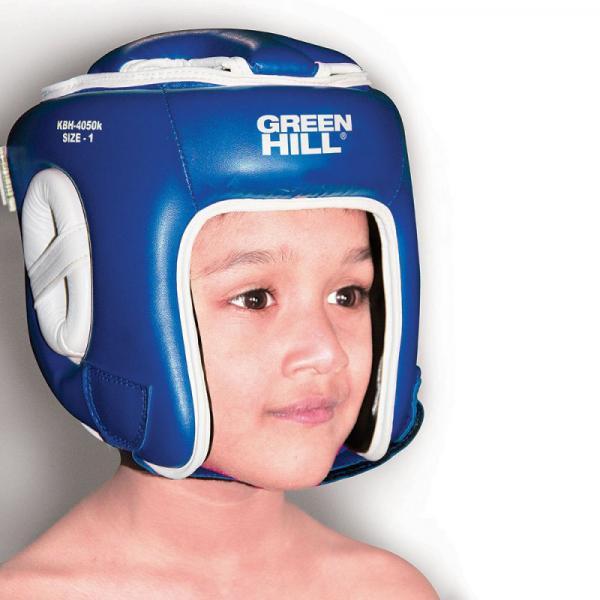 Детский боксерский шлем KIDS (размер 2), 12-14 лет Green HillБоксерские шлемы<br>Материал: Искусственная кожаВиды спорта: БоксШлем для бокса и кикбоксинга. Верх из искусственной кожи. Регулируемый обхват головы. Крепление сзади на резинке и липучке. Подкладка - искусственная замша.<br><br>Цвет: Синий