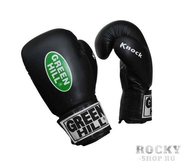 Перчатки боксерские KNOCK, 10oz  Green HillБоксерские перчатки<br>Перчатки тренировочные для бокса и кикбоксинга Knock. Сделаны из натуральной кожи. Многослойное наполнение высокотехнологичными материалами, обеспечивают максимальное удобство.Манжета на липучке позволят быстро снимать и надевать перчатки. Оптимальный выбор для тренировок.<br>