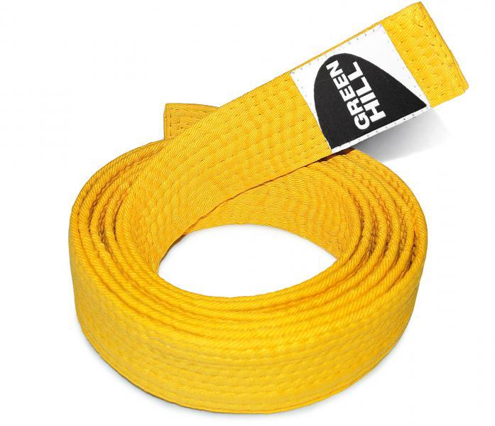 Пояс для каратэ, Желтый Green HillЭкипировка для Каратэ<br>Материал: ХлопокВиды спорта: КаратэПояс для кимоно. Материал: 100% хлопок.<br><br>Размер: 250см