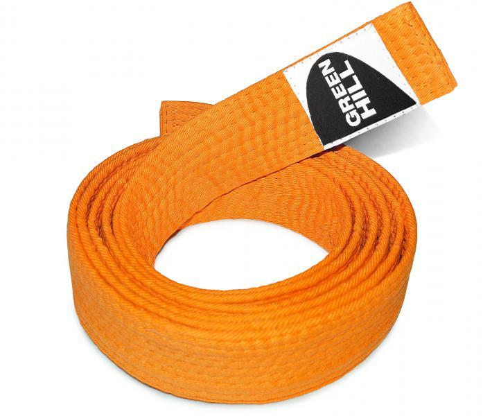 Пояс для каратэ, Оранжевый Green HillЭкипировка для Каратэ<br>Материал: ХлопокВиды спорта: КаратэПояс для кимоно. Материал: 100% хлопок.<br><br>Размер: 290см