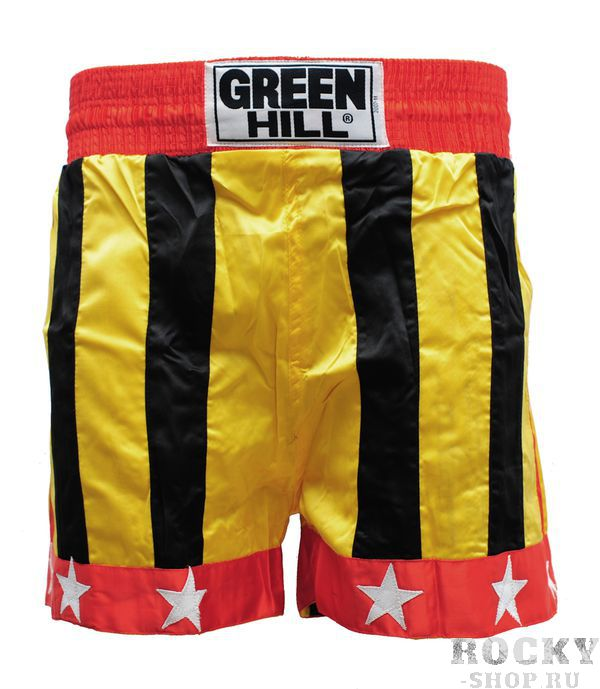 Шорты для тайского бокса Germany Green HillШорты для тайского бокса/кикбоксинга<br>Шорты для тайского бокса/кикбоксинга. Материал: полиэстер/атлас.<br><br>Размер INT: M