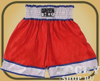 Шорты для тайского бокса, Красный Green HillШорты для тайского бокса/кикбоксинга<br>Шорты для тайского бокса/кикбоксинга. Материал: полиэстер/атлас. Высота резинки 7 см<br><br>Размер INT: XL