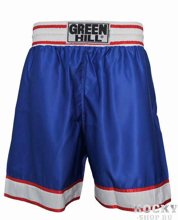 Шорты для тайского бокса, Синий Green HillШорты для тайского бокса/кикбоксинга<br>Шорты для тайского бокса/кикбоксинга. Материал: полиэстер/атлас. Высота резинки 7 см<br><br>Размер INT: L