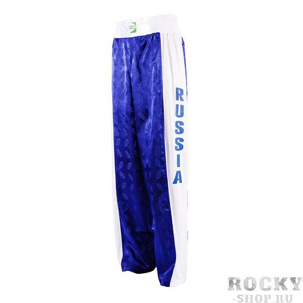 Брюки kiсk сборная росcии, Синий Green HillШтаны для кикбоксинга<br>Брюки для кикбоксинга. Материал: 100% полиэстер. Фактура тяжелый атлас. Ширина резинки: 7 см<br><br>Размер INT: 52