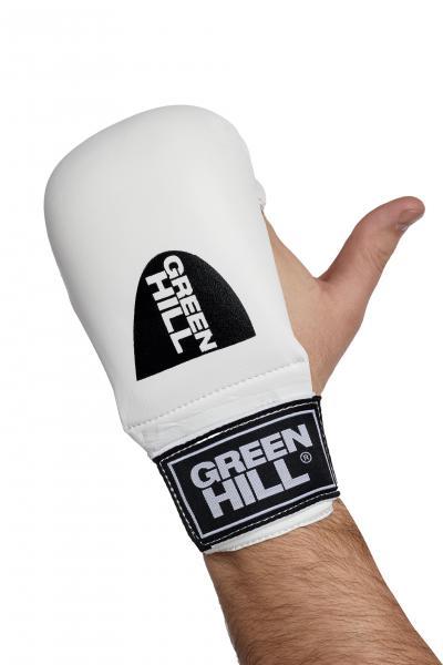 Накладки Каратэ COBRA, Белые Green HillЭкипировка для Каратэ<br>Накладки для каратэ Green Hill Cobra, сделаны из искусственной кожи, имеют пенополиуретановый защитный наполнитель, отлично амортизирующий удары, защищая как самого бойца, так и его соперника от ушибов и других травм, делая учебные тренировки наименее травмоопасными. Накладки имеют надежную систему крепления и не слетят во время боя.<br><br>Размер: M