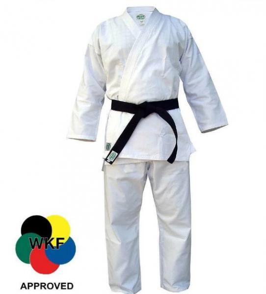 Кимоно карате KUMITE, одобрено WKF, 155 Green HillЭкипировка для Каратэ<br>Материал: ХлопокВиды спорта: КаратэЛегкое кимоно для каратэ (кумитэ) из полусинтетической ткани. Одобрено WKF. Длинная просторная куртка с двойной строчкой. Длинные брюки крепятся вставным шнуром. Многострочная прошивка всех кромок. Производство: Green Hill (Пакистан). Материал: поликоттон (70% хлопка и 30% синтетики) плотностью 230 г/м (8 унций)Комплектация: куртка и брюки, без пояса. В комплект не включен белый пояс, т. к. он не всегда нужен. Белый, цветной или черный пояс, с вышивкой или без, можно заказать отдельно.<br><br>Цвет: Белый
