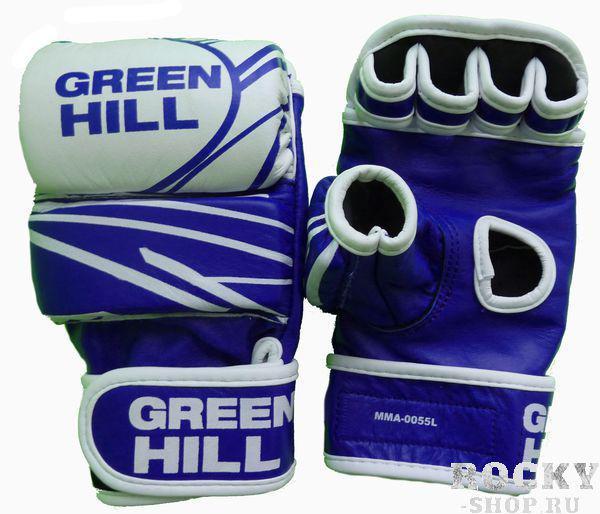 Перчатки MMA, кожа, Синий/белый Green HillПерчатки MMA<br>Материал: Натуральная кожаПерчатки для боев без правил и грэплинга Green Hill выполнены из натуральной кожи. Размеры:Замерьте обхват ладони сантиметровой лентой в наиболее широком месте, исключив при этом большой палец руки Размер: S M L XLОбхват ладони, см. 17-18 18-19 19-22 23-27<br><br>Размер: S