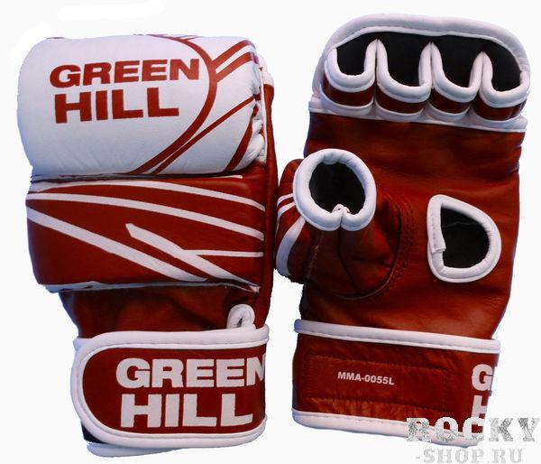 Перчатки mma, кожа, Красный/белый Green HillПерчатки MMA<br>Материал: Натуральная кожаПерчатки для боев без правил и грэплинга Green Hill выполнены из натуральной кожи. Размеры:Замерьте обхват ладони сантиметровой лентой в наиболее широком месте, исключив при этом большой палец руки Размер: S M L XLОбхват ладони, см. 17-18 18-19 19-22 23-27<br><br>Размер: L