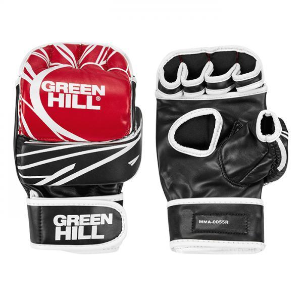 Перчатки MMA, Красный/белый Green HillПерчатки MMA<br>Материал: Искусственная кожаПерчатки для боев без правил и грэплинга Green Hill выполнены из искусственной кожи. Размеры:Замерьте обхват ладони сантиметровой лентой в наиболее широком месте, исключив при этом большой палец руки Размер: S M L XLОбхват ладони, см. 17-18 18-19 19-22 23-27<br><br>Размер: L