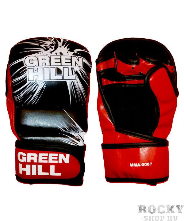 Перчатки MMA, Черный/красный Green HillПерчатки MMA<br>Материал: искусственная кожаПерчатки для боев без правил и грэплинга Green Hill выполнены из искусственной кожи.Размеры:Замерьте обхват ладони сантиметровой лентой в наиболее широком месте, исключив при этом большой палец руки  Размер: S M L XLОбхват ладони, см. 17-18 18-19 19-22 23-27<br>