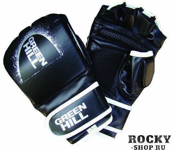 Перчатки mma, Черный Green HillПерчатки MMA<br>Перчатки для боев без правил и грэплинга Green Hill выполнены из искусственной кожи. Размеры:Замерьте обхват ладони сантиметровой лентой в наиболее широком месте, исключив при этом большой палец руки Размер: S M L XLОбхват ладони, см. 17-18 18-19 19-22 23-27<br><br>Размер: S