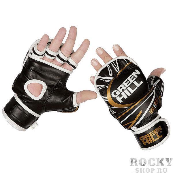 Перчатки MMA, Черный Green HillПерчатки MMA<br>Перчатки для боев без правил и грэплинга Green Hill выполнены из искусственной кожи. Размеры:Замерьте обхват ладони сантиметровой лентой в наиболее широком месте, исключив при этом большой палец руки Размер: S M L XLОбхват ладони, см. 17-18 18-19 19-22 23-27<br><br>Размер: XL