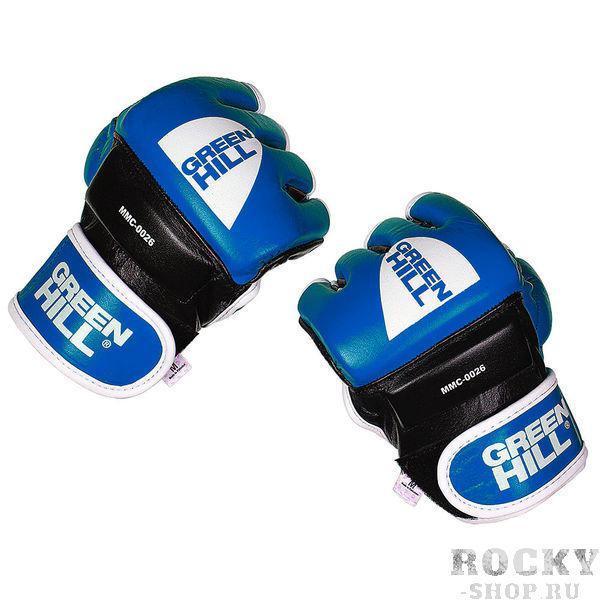 Перчатки mma, Синий Green HillПерчатки MMA<br>Материал: Натуральная кожаВиды спорта: ММАПерчатки для боев без правил и грэплинга Green Hill выполнены из натуральной кожи. Перчатки, благодаря открытым пальцам и утолщению на кулаке, подходят как для ударов, так и для прихватов. В таких перчатках можно выступать на соревнованиях и ходить на тренировки по боевому самбо, MMA, грэплингу и любым другим смешанным единоборствам. Размеры:Замерьте обхват ладони сантиметровой лентой в наиболее широком месте, исключив при этом большой палец руки Размер: S M L XLОбхват ладони, см. 17-18 18-19 19-22 23-27<br><br>Размер: M