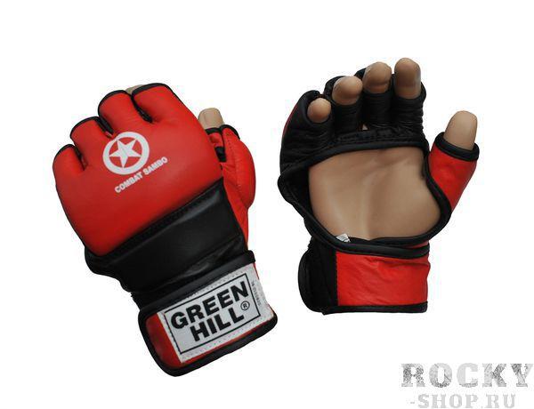 Перчатки COMBAT SAMBO, Красный Green HillПерчатки MMA<br>Перчатки для боев без правил и грэплинга Green Hill выполнены из натуральной кожи. Перчатки, благодаря открытым пальцам и утолщению на кулаке, подходят как для ударов, так и для прихватов. В таких перчатках можно выступать на соревнованиях и ходить на тренировки по боевому самбо, MMA, грэплингу и любым другим смешанным единоборствам. Размеры:Замерьте обхват ладони сантиметровой лентой в наиболее широком месте, исключив при этом большой палец руки Размер: S M L XLОбхват ладони, см. 17-18 18-19 19-22 23-27<br><br>Размер: S