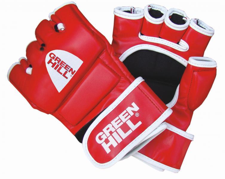 Перчатки mma Green Hill mmr-0027, Красные Green HillПерчатки MMA<br>Материал: Искусственная кожаВиды спорта: ММАПерчатки для боев без правил и грэплинга Green Hill выполнены из искусственной кожи. Перчатки, благодаря открытым пальцам и утолщению на кулаке, подходят как для ударов, так и для прихватов. В таких перчатках можно выступать на соревнованиях и ходить на тренировки по боевому самбо, MMA, грэплингу и любым другим смешанным единоборствам. Размеры:Замерьте обхват ладони сантиметровой лентой в наиболее широком месте, исключив при этом большой палец руки Размер: S M L XLОбхват ладони, см. 17-18 18-19 19-22 23-27<br><br>Размер: M