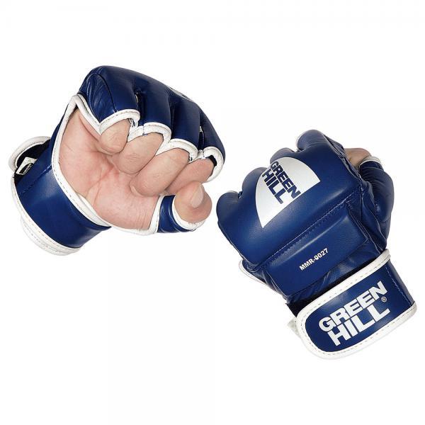 Перчатки MMA Green Hill MMR-0027, Синий Green HillПерчатки MMA<br>Материал: Искусственная кожаВиды спорта: ММАПерчатки для боев без правил и грэплинга Green Hill выполнены из искусственной кожи. Перчатки, благодаря открытым пальцам и утолщению на кулаке, подходят как для ударов, так и для прихватов. В таких перчатках можно выступать на соревнованиях и ходить на тренировки по боевому самбо, MMA, грэплингу и любым другим смешанным единоборствам. Размеры:Замерьте обхват ладони сантиметровой лентой в наиболее широком месте, исключив при этом большой палец руки Размер: S M L XLОбхват ладони, см. 17-18 18-19 19-22 23-27<br><br>Размер: S