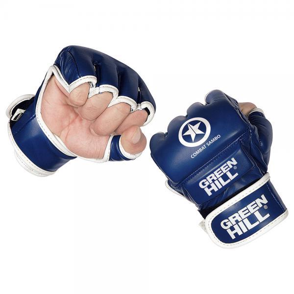 Перчатки COMBAT SAMBO, Синий Green HillПерчатки MMA<br>Перчатки для боев без правил и грэплинга Green Hill выполнены из искусственной кожи. Перчатки, благодаря открытым пальцам и утолщению на кулаке, подходят как для ударов, так и для прихватов. В таких перчатках можно выступать на соревнованиях и ходить на тренировки по боевому самбо, MMA, грэплингу и любым другим смешанным единоборствам. Размеры:Замерьте обхват ладони сантиметровой лентой в наиболее широком месте, исключив при этом большой палец руки Размер: S M L XLОбхват ладони, см. 17-18 18-19 19-22 23-27<br><br>Размер: M