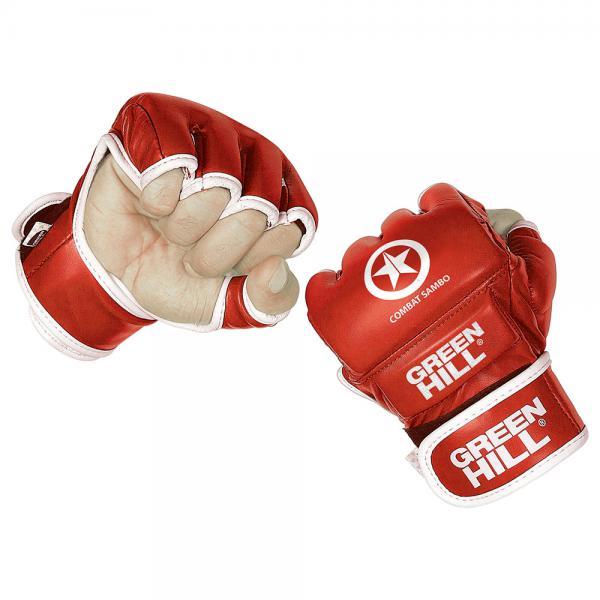 Перчатки combat sambo, Красный Green HillПерчатки MMA<br>Перчатки для боев без правил и грэплинга Green Hill выполнены из искусственной кожи. Перчатки, благодаря открытым пальцам и утолщению на кулаке, подходят как для ударов, так и для прихватов. В таких перчатках можно выступать на соревнованиях и ходить на тренировки по боевому самбо, MMA, грэплингу и любым другим смешанным единоборствам. Размеры:Замерьте обхват ладони сантиметровой лентой в наиболее широком месте, исключив при этом большой палец руки Размер: S M L XLОбхват ладони, см. 17-18 18-19 19-22 23-27<br><br>Размер: XL