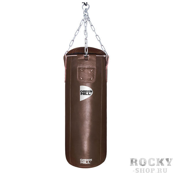 Мешок боксерский 100*30, двойная натуральная кожа, 40 кг, Коричневый Green HillСнаряды для бокса<br>Материал: Натуральная кожаМешок боксерский с подвесной системой. Верх сделан из высококачественной натуральной кожи. Служит для отработки ударов руками и ногами. Прекрасно подходит для постановки жесткого удара.<br><br>Цвет: Коричневый с черным