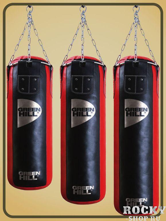 Мешок боксерский 110*35, двойная натуральная кожа, 55 кг Green HillСнаряды для бокса<br>Материал: Натуральная кожаДвойная натуральная кожа высшего качества110 см высота, 35 см диаметр мешкаЦепи и кольцо для карабина входят в комплектМасса 55 кгНабивка резиновая крошка/ветошь Интернет магазин Рокки представляет серию PBL боксерских мешков для продвинутых любителей и фитнесс залов от компании Green Hill. Профессиональная набивка, высокое качество исполнения, разнообразие размеров и весов делают эти мешки поистине незаменимыми для спортсменов. Материал мешка - ДВОЙНАЯ высококачественная кожа.<br>
