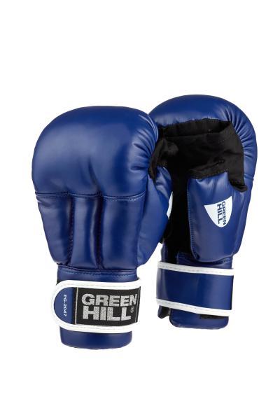 Перчатки для рукопашного боя Green Hill, Синие Green HillЭкипировка для рукопашного боя<br>Перчатки для рукопашного боя Green Hill выполнены из искусственной кожи, что благоприятно сказывается на цене перчаток. Оптимальное сочетание цены и качества делает эти перчатки идеальными для детей, которые только начинают заниматься спортом. Манжет на липучке позволяет легко и быстро снимать и одевать перчатки на тренировке. Открытые пальцы позволяют выполнять захваты, что особенно важно в смешанных единоборствах.<br><br>Размер: L