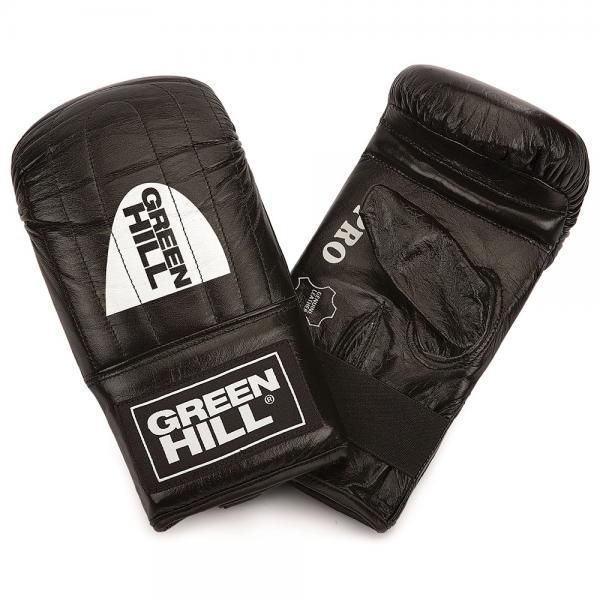 """Перчатки снарядные PRO, Черный Green HillCнарядные перчатки<br>Снарядные перчатки серии """"Pro"""" («блинчики»). Легкие и удобные снарядные перчатки для отработки ударов. Шингарты обеспечивают комфортное использование в любых направлениях : отработка ударов в зале, дома, или фитнес-центре, легкие спарринги. Выполнены из натуральной кожи, манжет на резинке. Размеры:Замерьте обхват ладони сантиметровой лентой в наиболее широком месте, исключив при этом большой палец руки Размер: S M L XLОбхват ладони, см. 17-18 18-19 19-22 23-27<br><br>Размер: M"""