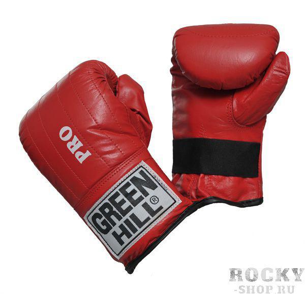 """Перчатки снарядные pro, Красный Green HillCнарядные перчатки<br>Снарядные перчатки серии """"Pro"""" («блинчики»). Легкие и удобные снарядные перчатки для отработки ударов. Шингарты обеспечивают комфортное использование в любых направлениях : отработка ударов в зале, дома, или фитнес-центре, легкие спарринги. Выполнены из натуральной кожи, манжет на резинке. Размеры:Замерьте обхват ладони сантиметровой лентой в наиболее широком месте, исключив при этом большой палец руки Размер: S M L XLОбхват ладони, см. 17-18 18-19 19-22 23-27<br><br>Размер: L"""