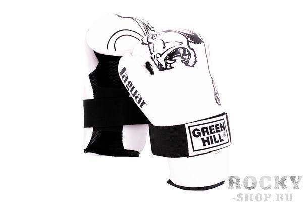 Перчатки 7-contact JAGUAR белые, Белый Green HillЭкипировка для кикбоксинга<br>Накладки для кикбоксинга Green Hill 7-contact, сделаны из искусственной кожи, имеют плотный наполнитель, обеспечивающий упругий удар. Идеально подходят для обучения, спаррингов и соревнований. Крепятся ремешком с липучкой на манжетах.<br>
